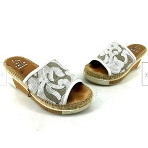 Kanna Womens Sandals White Size 38 Slides Wedge